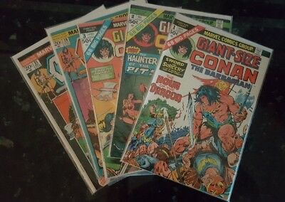 1975 Conan The Barbarian Giant-Size Marvel Comic #1-3 +Issues 19, 21 Fine Shape