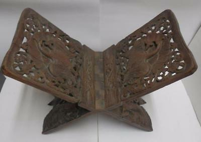 STUNNINGAntique Carved Solid Oak Oriental Asian LARGE Religious Book Bible Rest