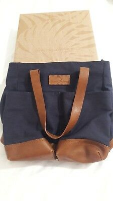 NWT Tommy Bahama Canvas and Leather Wine Carrier Navy Blue/Brown
