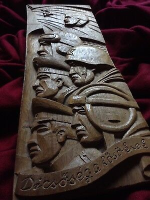 Antique Communist Soldier Lenin Gulag Art Handcarved Wood Statue Sculpture War