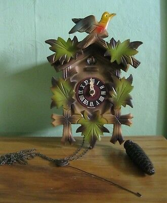 Vintage Wood CUCKOO CLOCK Musical Bird GERMANY parts / repair