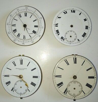 Lot of 4 Antique Pocket Watch Movements For Spares or Repairs