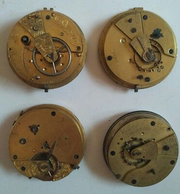 Lot of 4 Antique Pocket Watch Movements - Henry B Peck, H Bernstein (12)