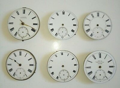 Lot of 6 Antique Pocket Watch Movements For Spares or Repairs