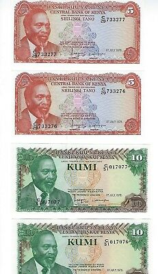 Kenya  5 And 10 Shillings 1978,   2 Consec Nos Of Each  Nice Unc