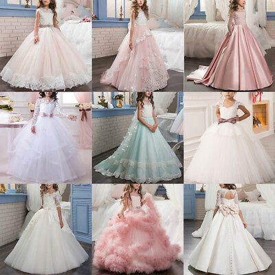 Lace Tutu Dress Flower Girl Kid Princess Long Bridesmaid Wedding Communion Gown