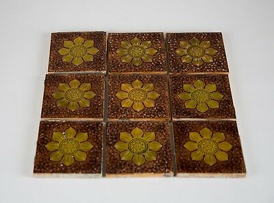 Antique Minton Hollins Brown & Green Floral Majolica Tiles, Set of (9), 4.25""