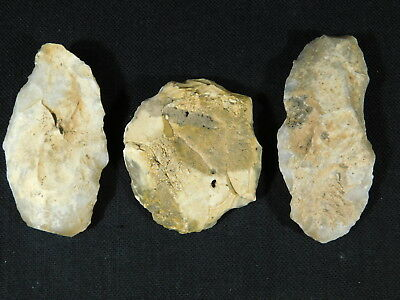Lot of THREE Big! 55,000 to 12,000 Year Old AAA Aterian Artifacts Algeria 128gr