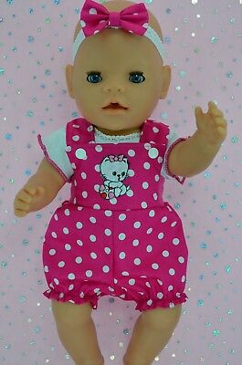 "Play n Wear Doll Clothes To Fit 17""Baby Born POLKA DOT BIB DUNGAREE~TOP~HEADBAND"