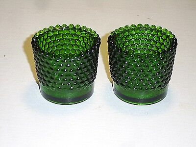 "Pair of Dark Green Hobnail Glass 2"" High Tealight Candle Holder Cups Votives"