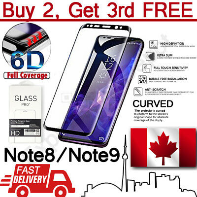 Premium 6D Full Cover Tempered Glass Screen Protector for Samsung Note 8/Note 9