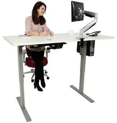Grey Electric Adjustable Sit or Stand Desk/Table Lift with Programmable Control