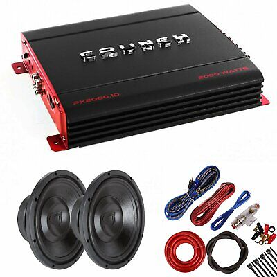 "Crunch PX2000.1D 2000 Watts Class D Amplifier + (2) 10"" High Power Sub w/ Kit"