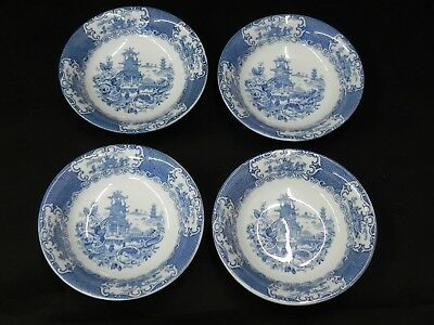 """Antique England 1900's Chinese Blue Allerton's Lot of 4 Cereal Bowls 6"""""""