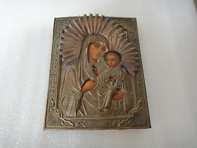 Old XIX Century Russian Orthodox Icon Holy Virgin, Mother of God