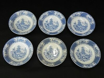"""Antique England 1900's Chinese Blue Allerton's  Lot of 6 Cereal Bowls 6"""""""