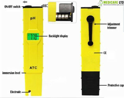 Portable High Precision Digital PH Meter Water Quality Meter LCD Display ATC