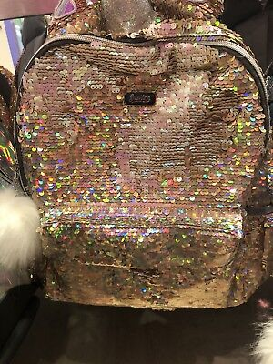 Justice Girls Gold Unicorn Reversible Flip Sequin Backpack Only