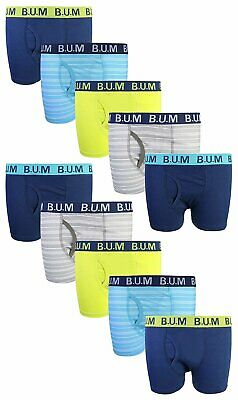 B.U.M. Equipment Boys Boxer Briefs 10-Pack 100% Cotton Underwear Sizes XS-XL