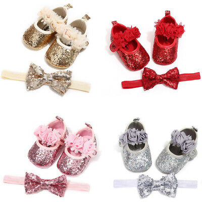 Newborn Baby Girls Bow Princess Shoes Anti-slip Soft Sole Crib Sneaker Prewalker
