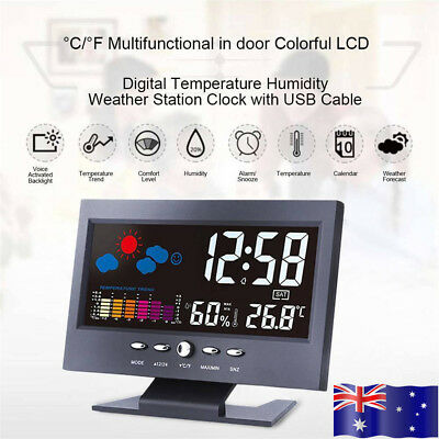 AU! Digital Wireless LCD Alarm Clock Thermometer Hygrometer Weather Forecast