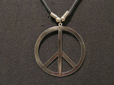 Large Vintage Peace Sign Choker Goth Uk Import Tin Cut Out Light Silver Tone