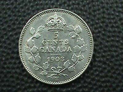 CANADA  5 Cents  1903  ALMOST UNC  SILVER  ,  $ 2.99  maximum  shipping  in  USA