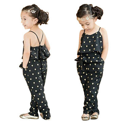 Baby Kid Girl Sleeveless Jumpsuit Romper Heart Dot Pants Trousers With Belt 2-8Y