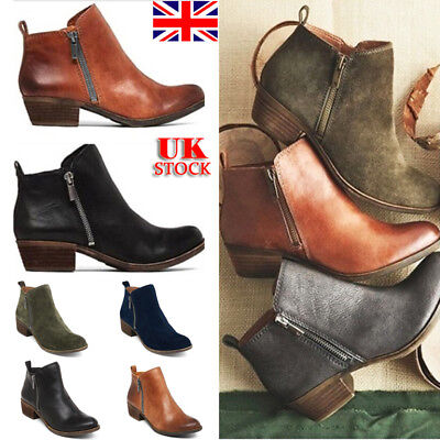 UK Womens PU Leather Ankle Boots Block Heels Zipper Pointed Toe Shoes Size 3-6