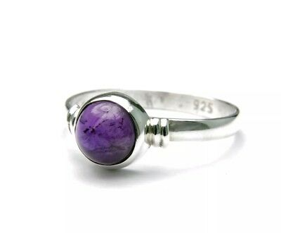 925 Sterling Silver Purple Amethyst Stone Boho Ring