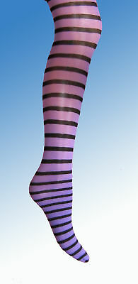 Purple Black Stripe Girls Tights 3 4 5 6 7 8 9 10 11 12 stripy witch halloween
