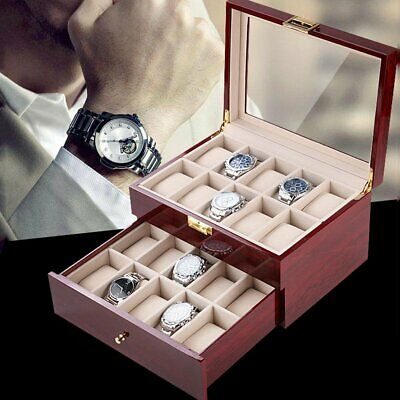 20 Grids Lacquer Wooden Watch Display Boxes Jewelry Organizer Collection Case AU