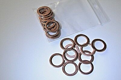 10 St. Dichtring/Dichtung Kupfer  10,0 x 14,0 x 1,0 mm, Form A  DIN 7603