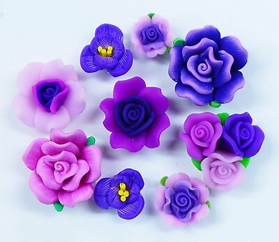 10 pcs Mixed Purple Clay Flowers Cute Flat Back Resin Decoden Cabochons