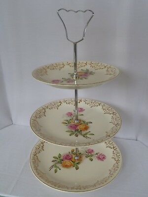 Vintage three tiered cake plate, British Anchor with metal handle, rose design