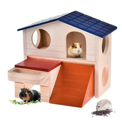 Double-Layer Hamster House Nest Villa Log Cabin Toy