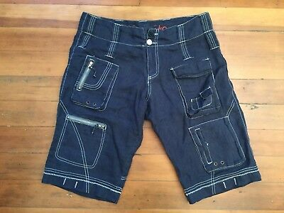 JOHNNY WAS Pete And Greta Size 6 Navy Blue Linen Unisex Cargo Shorts 36 x 14