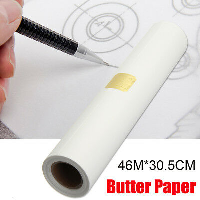 White 46M*30.5CM Super Transparent Draft Sketch Butter Paper Tracing Paper Roll