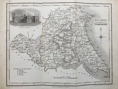 1834 Antique Map; East Riding of Yorkshire; Bell's Comprehensive Gazetteer