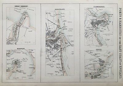 1872 Antique Map; Ports & Harbours, East Coast England. Imperial Gazetteer