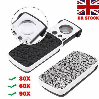Pocket Magnifying 30/60/90X Jewellers Magnifier Glass UV LED Light Loupe One