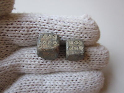 Lot of 2 ancient Roman carved lead game dice legionary gaming pieces,1-2AD.