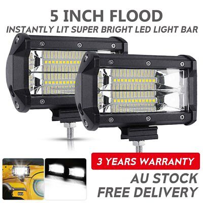 2x 5inch CREE LED Work Driving Light Bar Flood Spot Offroad Boat Truck 12V 24V