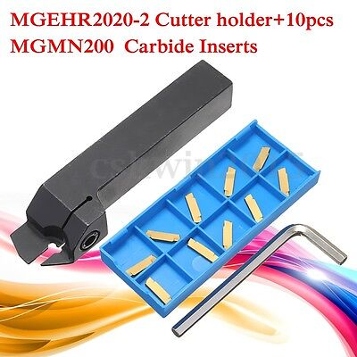MGEHR2020-2 Tool Holder+ 10 MGMN200 Carbide Inserts Blade Grooving Cut-Off Set