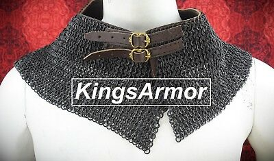 ChainMail Avential Collar 8 mm 18 Gauge Flat Riveted with Solid Ring Black