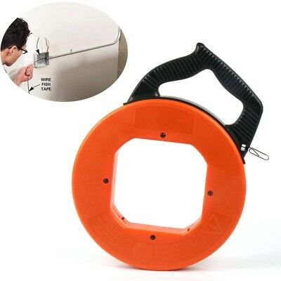 30M Fiberglass Fish Tape Reel Puller for Conduit Duct Rodder Pulling Wire Cable