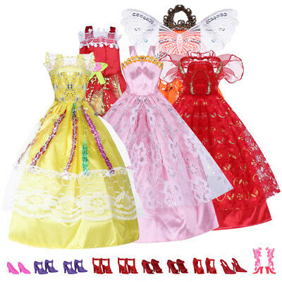 Random Lot 5Pcs Barbie Dolls Party Wedding Clothes Fashion Dress Handmade Gift
