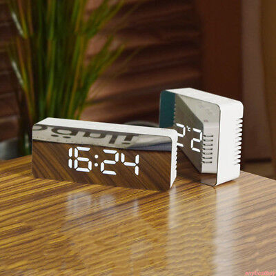1Pc Mirror LED Alarm Clock Night Lights Thermometer Digital Wall Clock LED Lamp