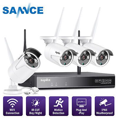 SANNCE 4CH 1080P NVR 720P Wireless Security IP Camera System WiFi Night Vision
