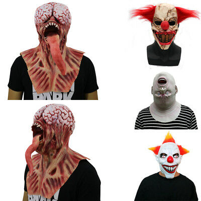 US Scary Ghost Mask Cosplay Costume Horror Scary Mask Zombie Clown Masquerade